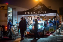 #13 Juha Salo / Peugeot 208 T16 R5. Pohjanmaa-rallin ensimmäisen päivän jälkeinen huolto Seinäjoella.